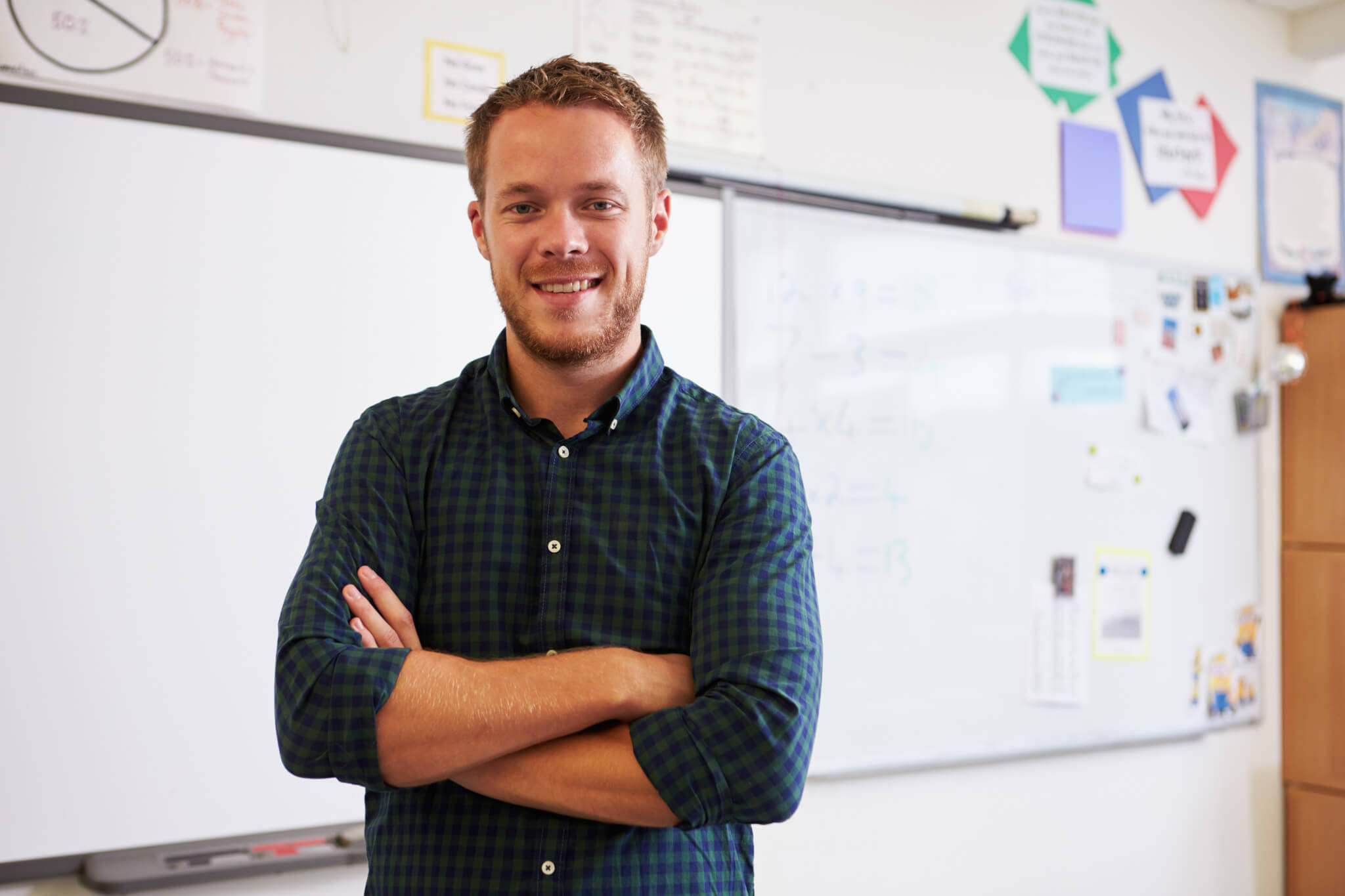 Teacher standing in front of a whiteboard